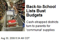 Back-to-School Lists Bust Budgets