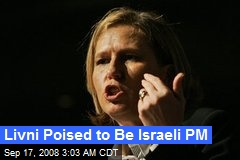 Livni Poised to Be Israeli PM