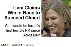 Livni Claims Win in Race to Succeed Olmert