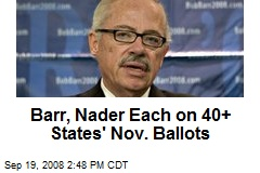 Barr, Nader Each on 40+ States' Nov. Ballots
