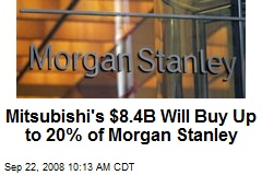 Mitsubishi's $8.4B Will Buy Up to 20% of Morgan Stanley