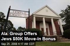 Ala. Group Offers Jews $50K Move-In Bonus