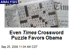 Even Times Crossword Puzzle Favors Obama