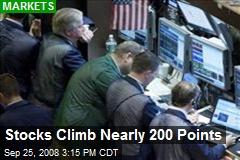 Stocks Climb Nearly 200 Points