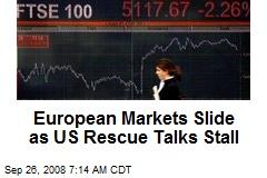 European Markets Slide as US Rescue Talks Stall