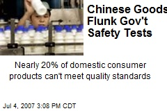 Chinese Goods Flunk Gov't Safety Tests