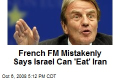 French FM Mistakenly Says Israel Can 'Eat' Iran