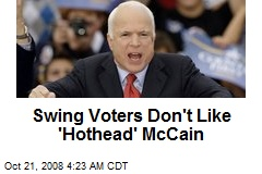 Swing Voters Don't Like 'Hothead' McCain
