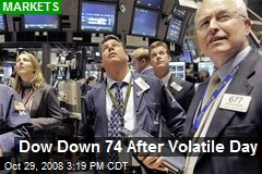 Dow Down 74 After Volatile Day