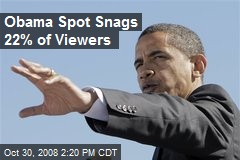 Obama Spot Snags 22% of Viewers