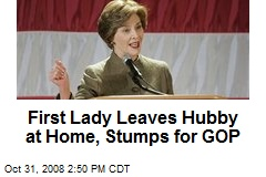 First Lady Leaves Hubby at Home, Stumps for GOP