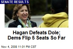 Hagan Defeats Dole; Dems Flip 5 Seats So Far