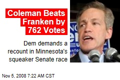 Coleman Beats Franken by 762 Votes