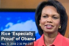 Rice 'Especially Proud' of Obama