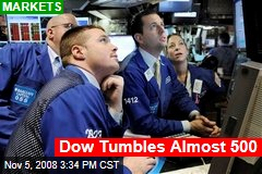 Dow Tumbles Almost 500