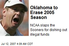 Oklahoma to Erase 2005 Season