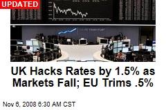 UK Hacks Rates by 1.5% as Markets Fall; EU Trims .5%