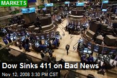 Dow Sinks 411 on Bad News