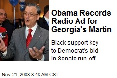 Obama Records Radio Ad for Georgia's Martin