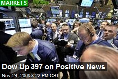 Dow Up 397 on Positive News