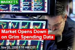 Market Opens Down on Grim Spending Data