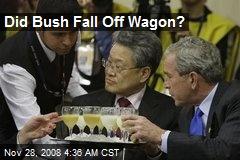 Did Bush Fall Off Wagon?