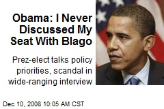 Obama: I Never Discussed My Seat With Blago