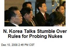 N. Korea Talks Stumble Over Rules for Probing Nukes