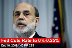 Fed Cuts Rate to 0%-0.25%