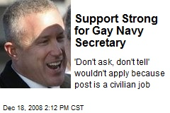 Support Strong for Gay Navy Secretary