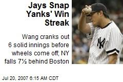 Jays Snap Yanks' Win Streak