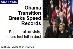Obama Transition Breaks Speed Records