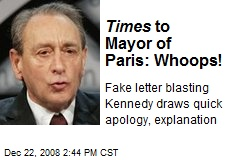 Times to Mayor of Paris: Whoops!