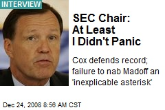 SEC Chair: At Least I Didn't Panic