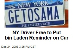NY Driver Free to Put bin Laden Reminder on Car
