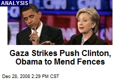 Gaza Strikes Push Clinton, Obama to Mend Fences