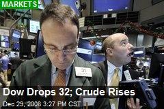 Dow Drops 32; Crude Rises