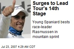 Contador Surges to Lead Tour's 14th Stage