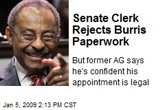 Senate Clerk Rejects Burris Paperwork