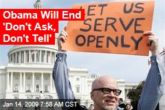 Obama Will End 'Don't Ask, Don't Tell'