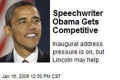 Speechwriter Obama Gets Competitive