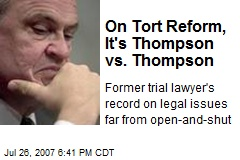 On Tort Reform, It's Thompson vs. Thompson