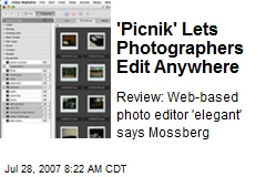 'Picnik' Lets Photographers Edit Anywhere
