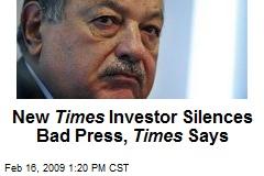 New Times Investor Silences Bad Press, Times Says