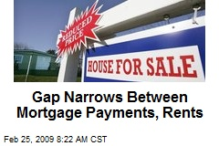 Gap Narrows Between Mortgage Payments, Rents