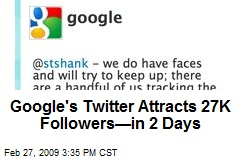 Google's Twitter Attracts 27K Followers—in 2 Days