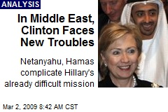 In Middle East, Clinton Faces New Troubles