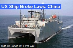 US Ship Broke Laws: China