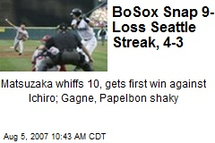 BoSox Snap 9-Loss Seattle Streak, 4-3