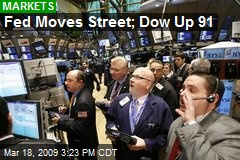 Fed Moves Street; Dow Up 91